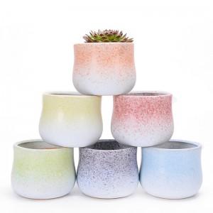 2020 modern Eco-friendly Flowerpot Round pot For Home cute matt glaze dot Ceramic Flower green succulent Pots Planter