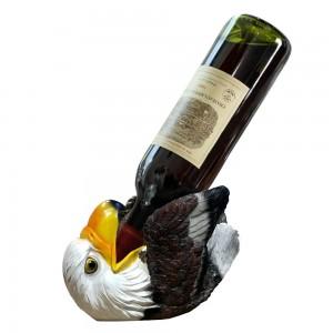 Resin Lovely Funny Eagle Wine Rack Wine Bottle Holder Animal Sculpture Case for Home,Restaurant and Hotel 21*10*14cm