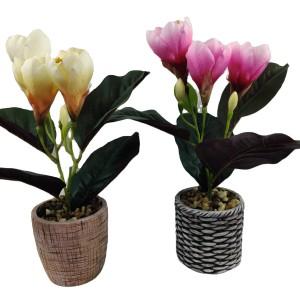 20*20*35cm Artifical Flower With Decorative Ceramic Garden Pot; Artifical Flower Pot With Artifical Plastic Tulip