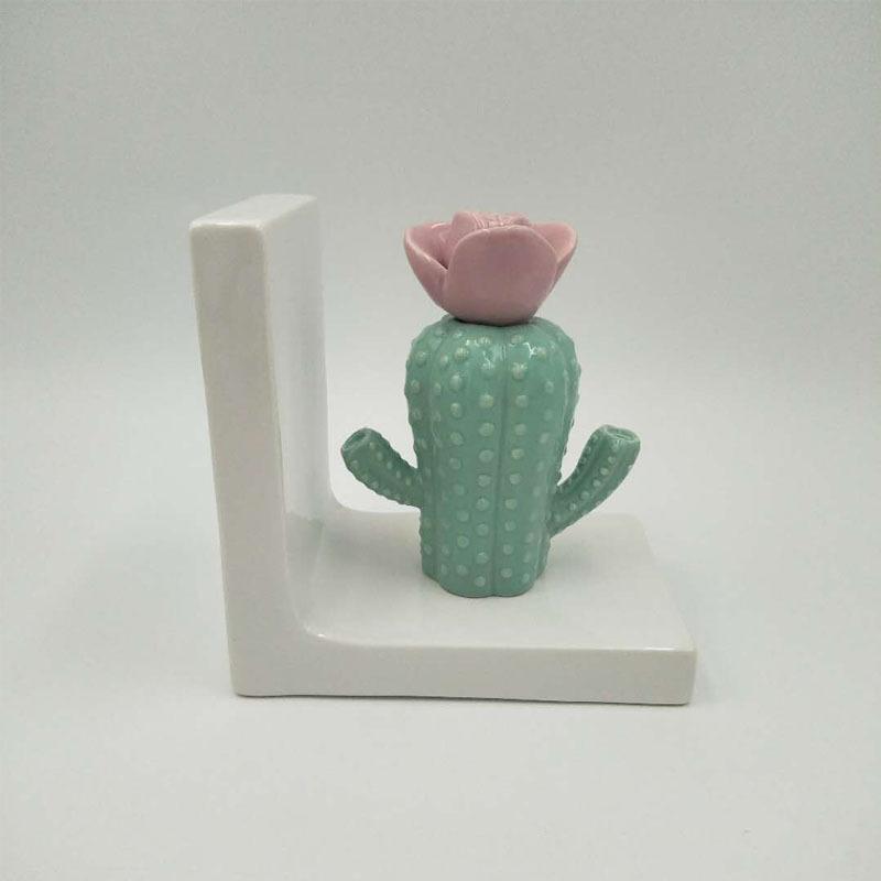 Custom Ceramic Handmade porcelain Cactus Book Ends