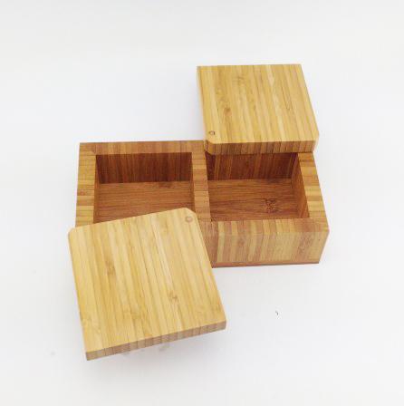 Bamboo Square Bamboo Salt Box, Tan, Large