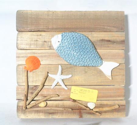 Driftwood sea decoration board ,wooden board sea fish