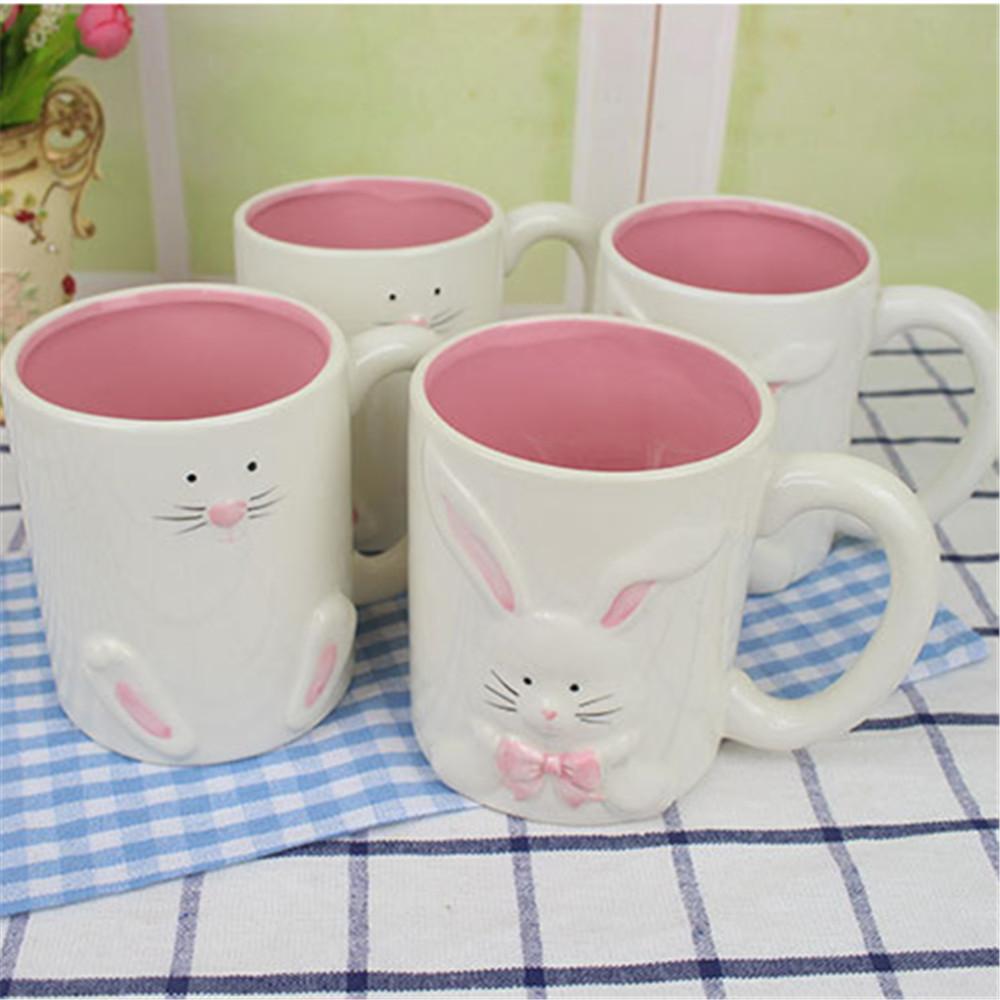 Ceramic  Mr and Mrs Rabbit  coffee mug  Interior Pink  Glaze Coffee Mug  Couple mug