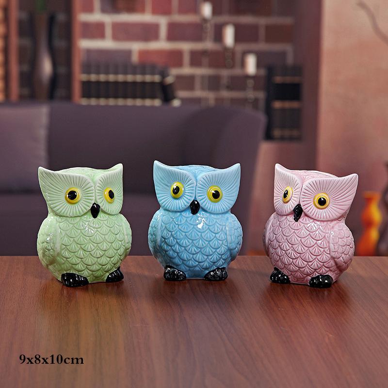 Cute Owl Ceramic Piggy Bank Personalized Money Saving Bank for Kids Girls Nursery Gift Decor