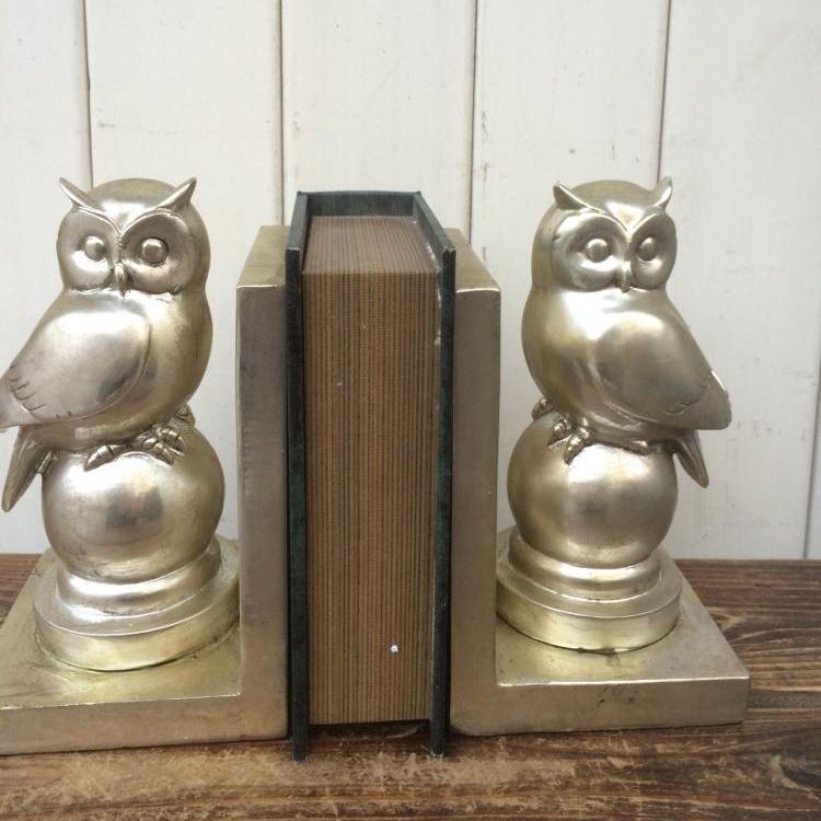 Ceramic Owl Figurine Bookend in Silver Gloss Finish