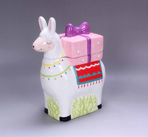 ceramic pink  llama  gift box ,alpaca gift box