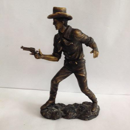 "American West Cowboy Statue Figurine Black Sculptures Modern Decors 5.6"""