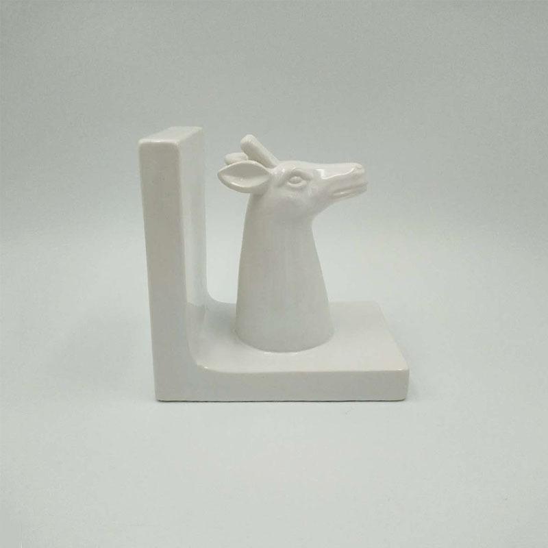 Ceramic Porcelain Deer Head Bookend Set, Stag Book ends set