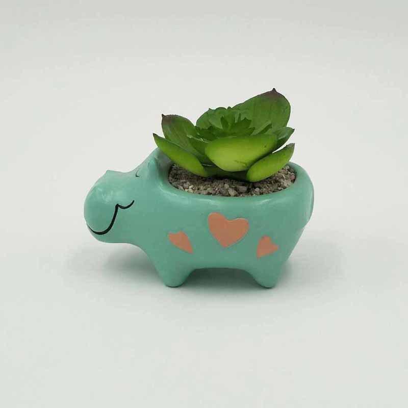 Cute Animal Shaped Cartoon Home Decoration Succulent Vase Flower Pots, Hippo