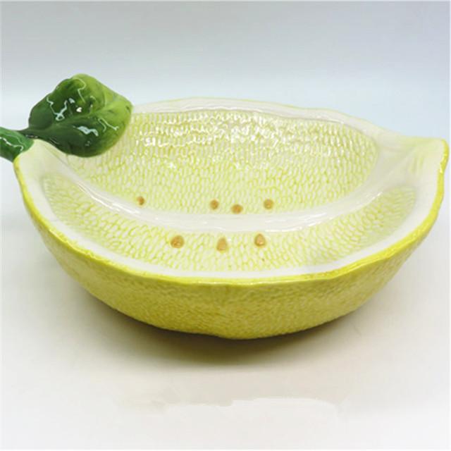 Handmade  Fruit Shape Salad Bowl ceramic Lemon salad bowl