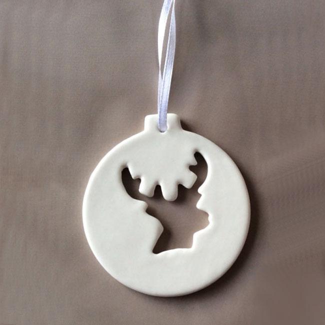 Custom made Hanging ornament Decoration For Christmas, Ceramic,  Stag head