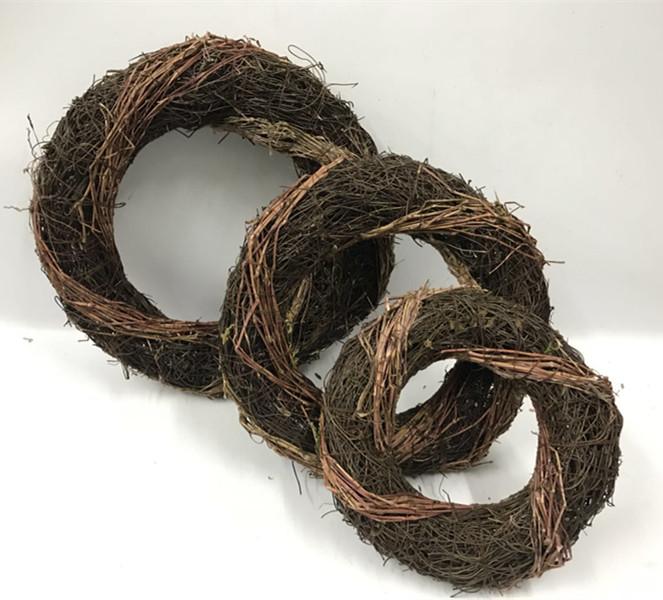 Natural salim black rattan fat wreath ,natural door wreaths
