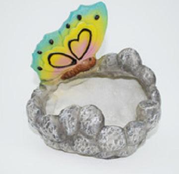 Custom cheap resin flower planter pot with butterfly resin garden decoration