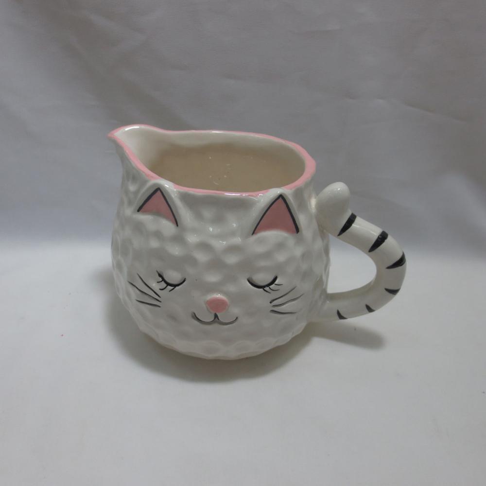 Cat Shaped Ceramic Creamer, White