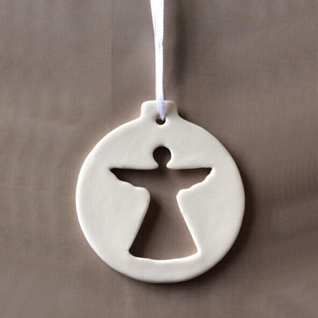 Custom made Hanging ornament Decoration For Christmas, Ceramic,  Angel