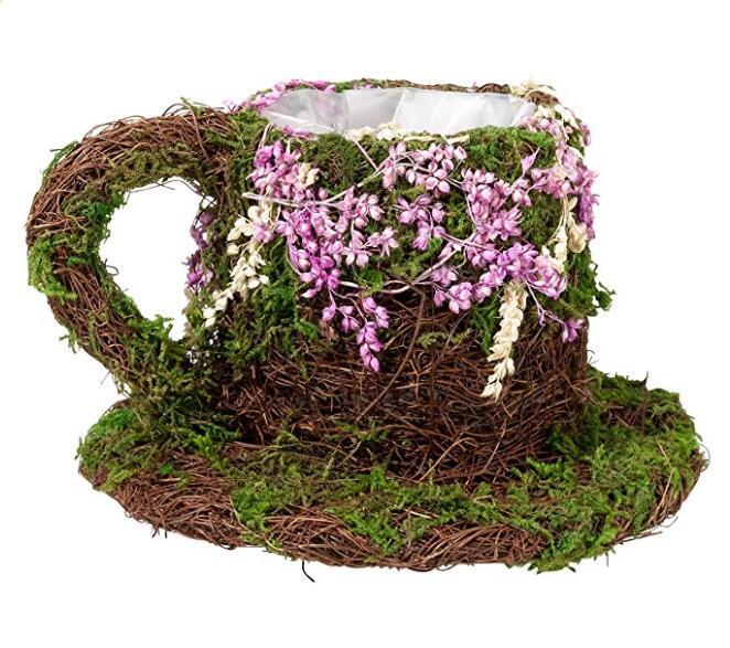 Rattan and moss teacup basket