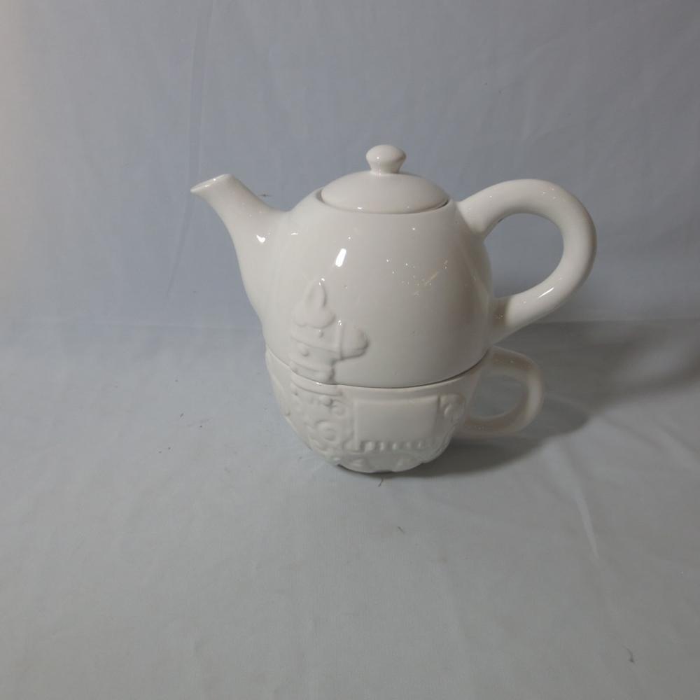 Customized red color santa handmade painting teapot porcelain sets