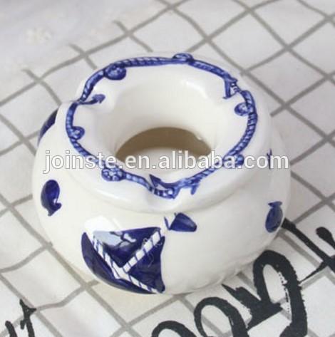 Custom blue painting round ceramic ashtray