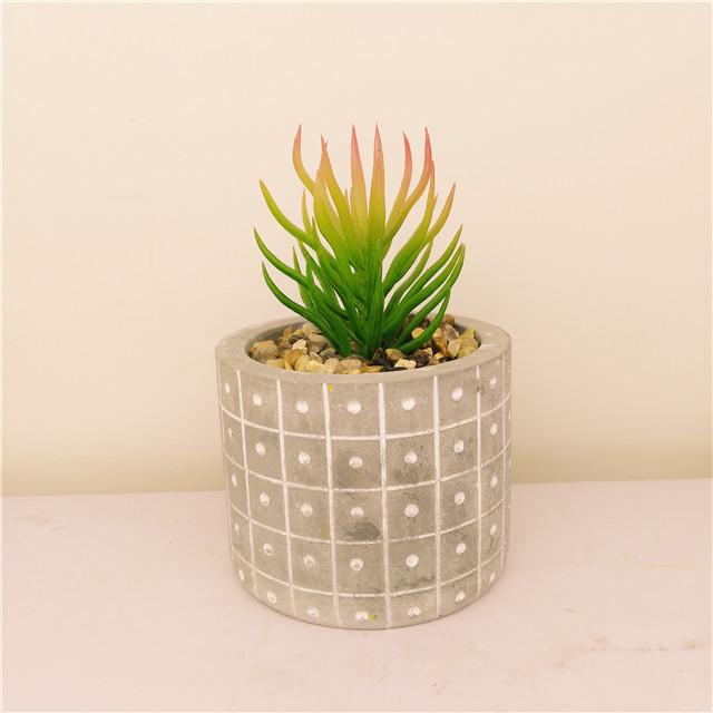 Engraved  Cement Succulent /Cactus  Plant pot Flower pot wholesale