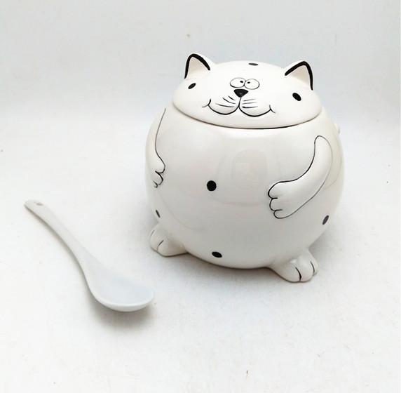 Ceramic fortune cat  food jars ,big fat cat kitchen jars