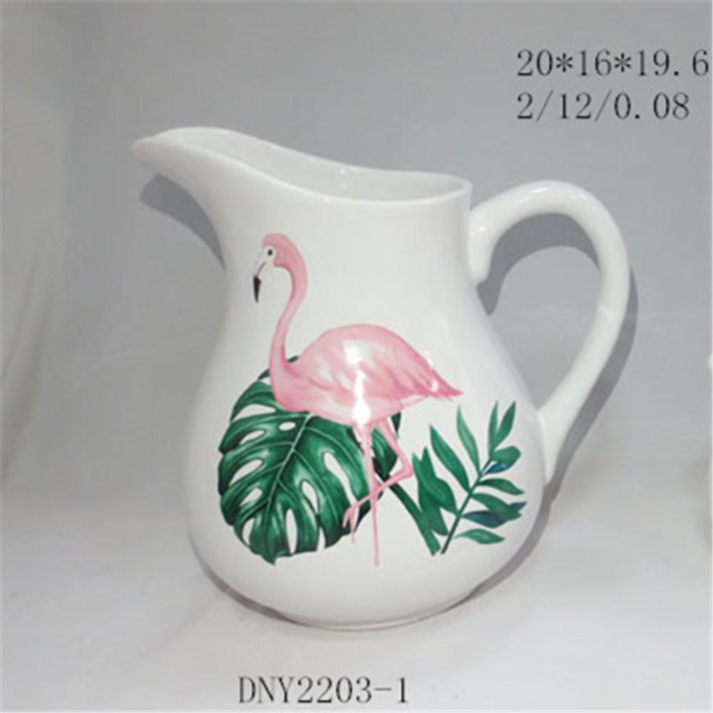 Ceramic wholesale pitcher flamingo large milk pitcher