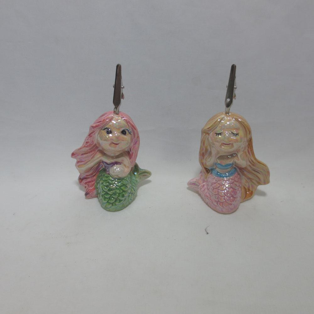 Custom Made Ceramic Mermaid Shape Card Holder, Card Clamp, Card clip