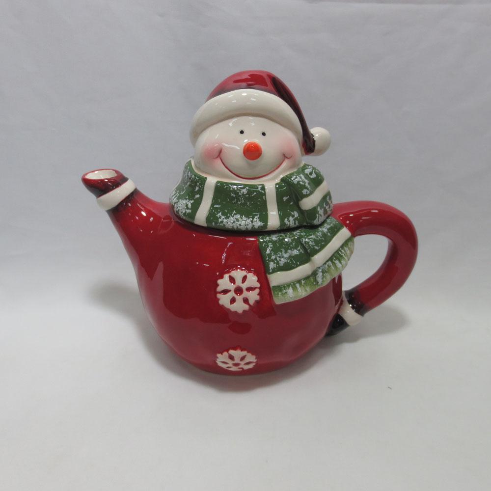 Customized red color snowman handmade painting teapot porcelain teapot