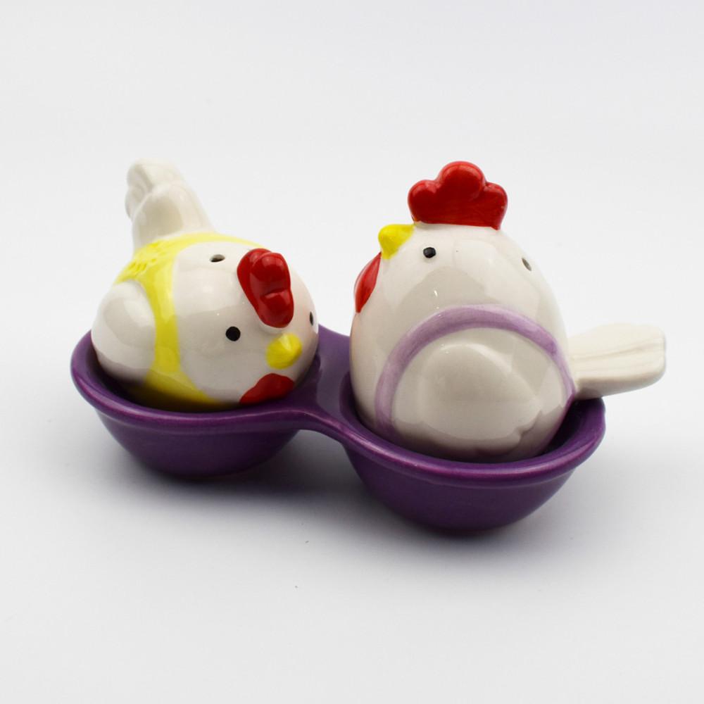 newfangled ceramic hen shaped  salt pepper container salt pepper shaker with holder