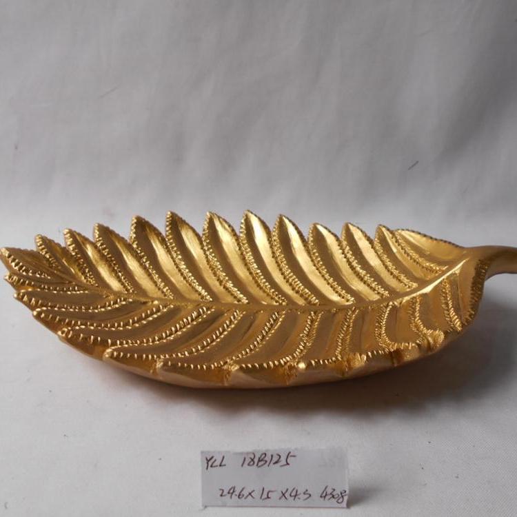 Golden color high-end home decoration leaf shape plating resin dish plate