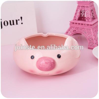 Custom cheap pink pig shape ceramic ashtray home decoration