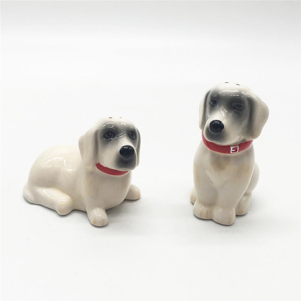 Ceramic cute dog  shape salt and pepper shakers   set