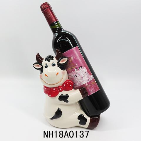 Funny Milk Cow Sculpture Wine Bottle Holder Ornamental Polyresin Ox wine holder