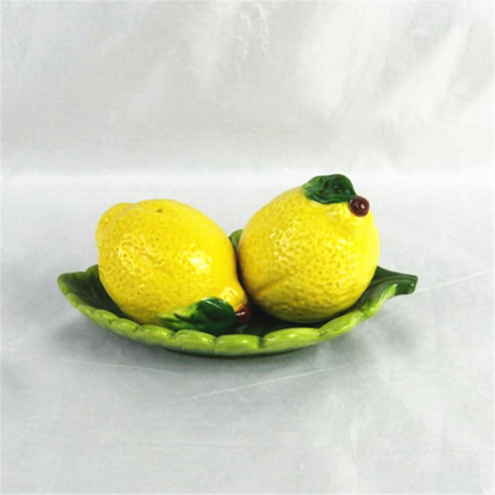 Promotional ceramic spice bottle hand made lemon shape salt & pepper bottle