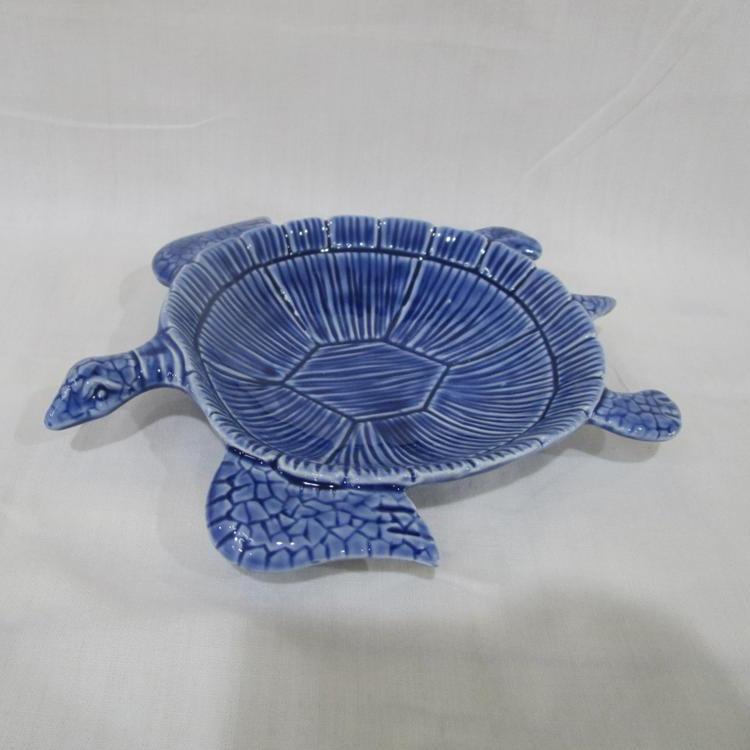 Solid Blue Ceramic Sea Turtle Dishware (Plate), ceramic tortoise plate