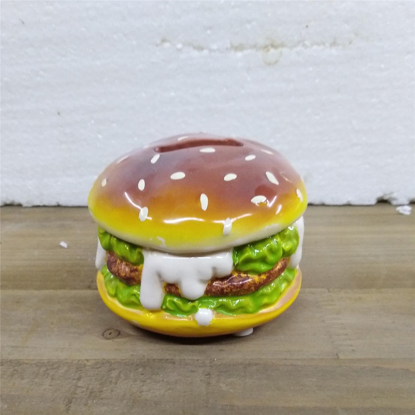 Custom  creative   ceramic beef burger  shape  money  bank,kids birthday gift money  bank