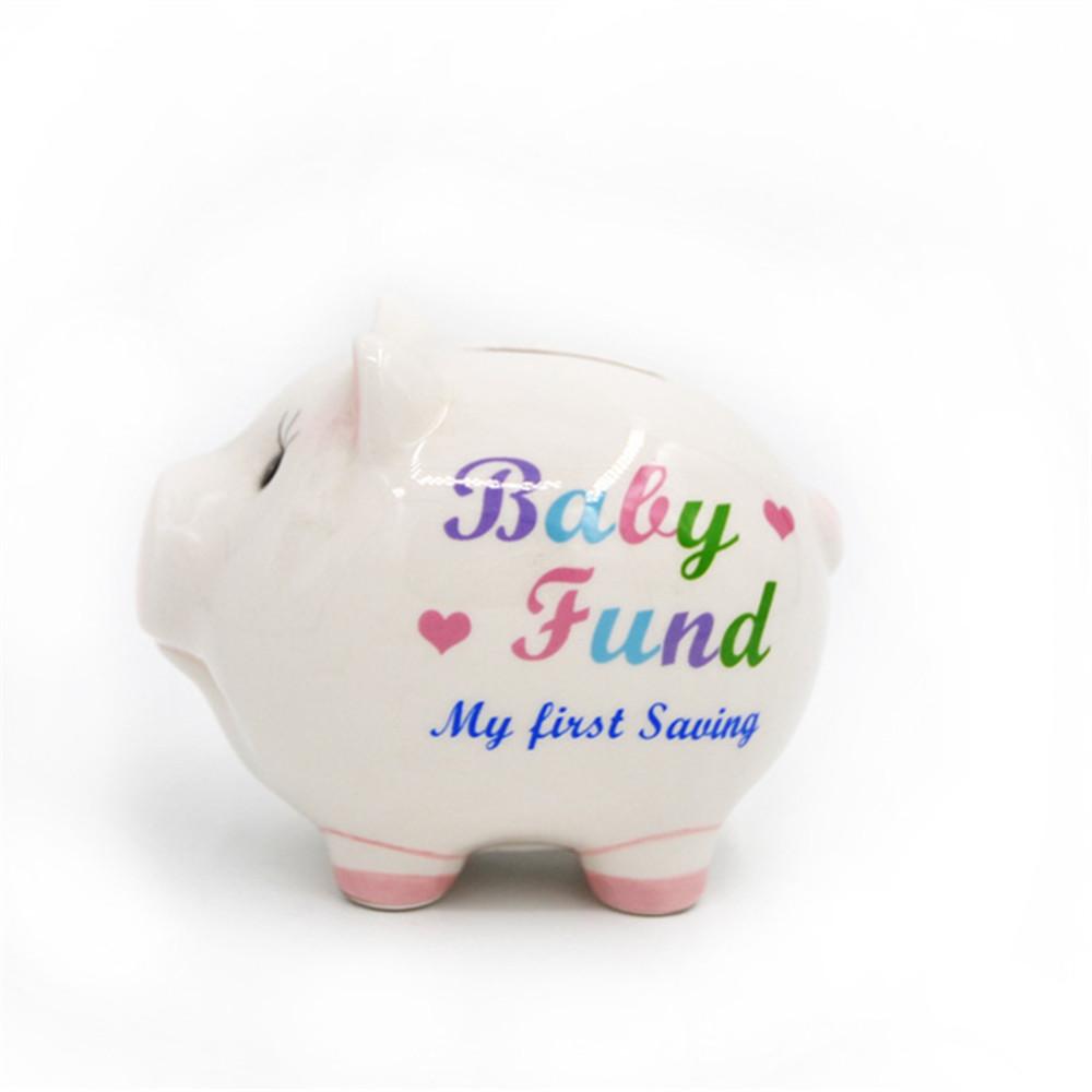 White painting ceramic piggy bank  pig shape money bank  coin bank custom