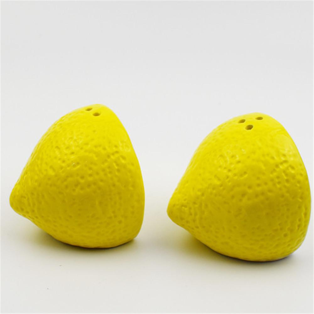 Ceramic fruit  shape  salt  and pepper shaker  custom lemon shape  salt  pepper spice bottle  set