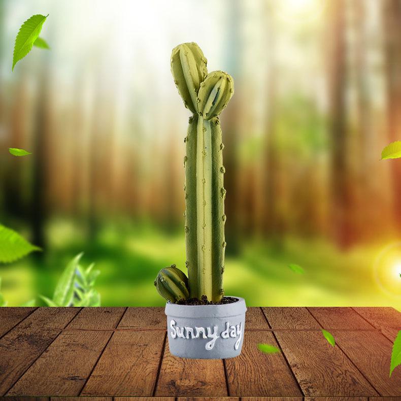 Resin Craft Cactus Flower Pot Terrarium Figurines Garden Decor Succulent Ornament Micro Landscape