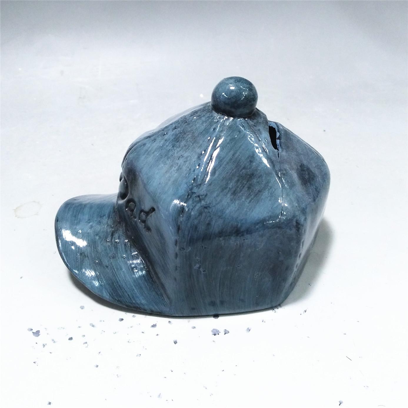 Fashion  hat shape money box  ceramic gray 3D hat  money bank piggy bank custom