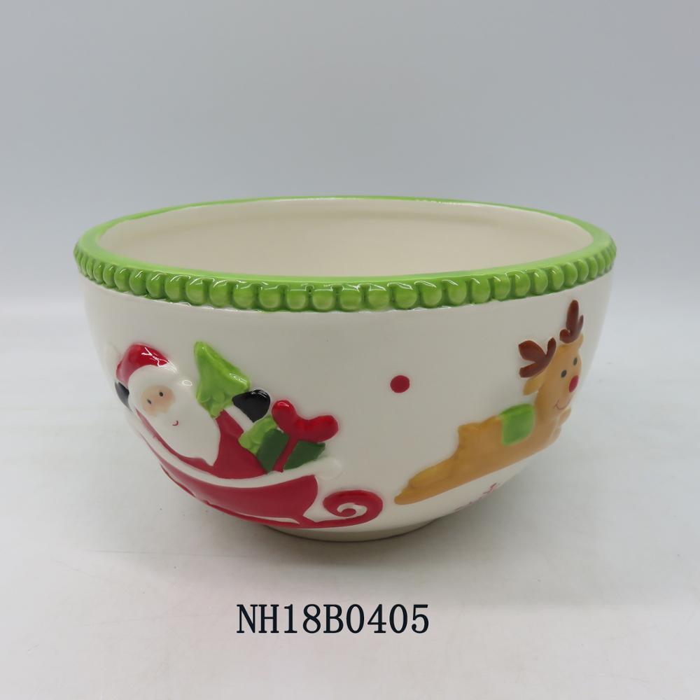 2018 Wholesale cute christmas reindeer shaped custom ceramic bowl dinnerware type