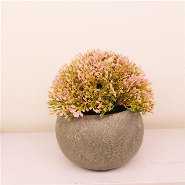 Artificial Plastic Mini Plants Unique  Green Grass Flower in Gray Pot for Home Decor Set of 3