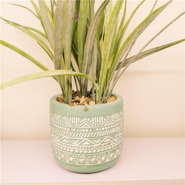 Round Blue Cement  Planter Pot ,  Concrete  Mini  Succulent /Cactus pots