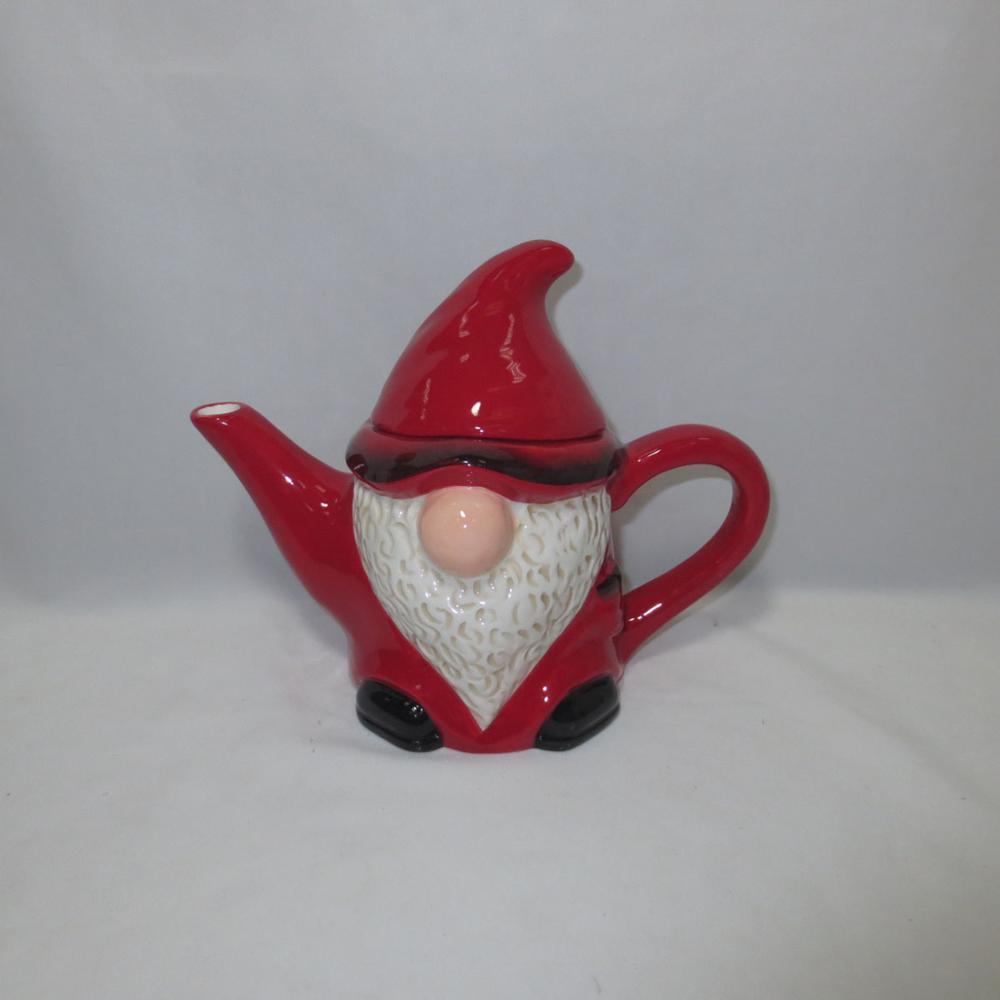 Customized red color santa handmade painting teapot porcelain teapot