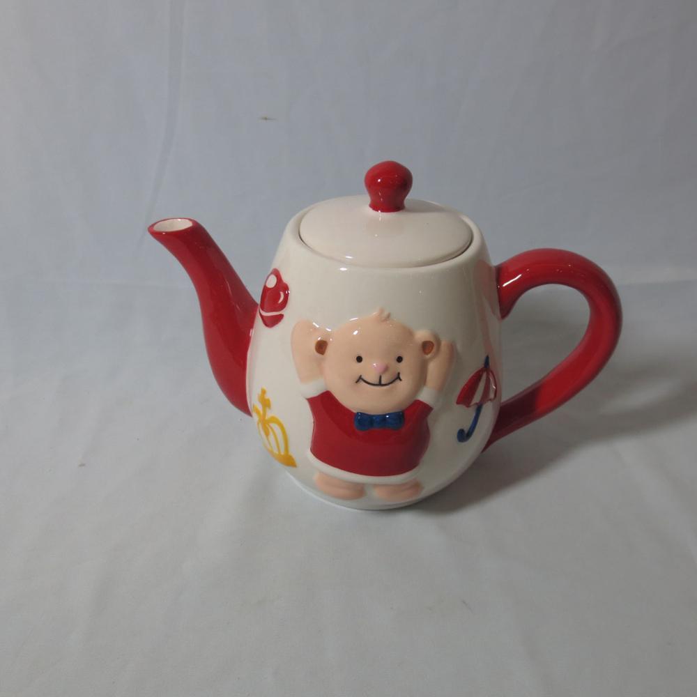 Creative cute ceramic piggy teapot with lid, animal mug with handgrip