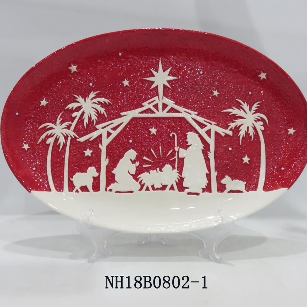 "16"" Handmade Ceramic CHRISTMAS SCENE Nativity Plate PEACE ON EARTH, oval shape"
