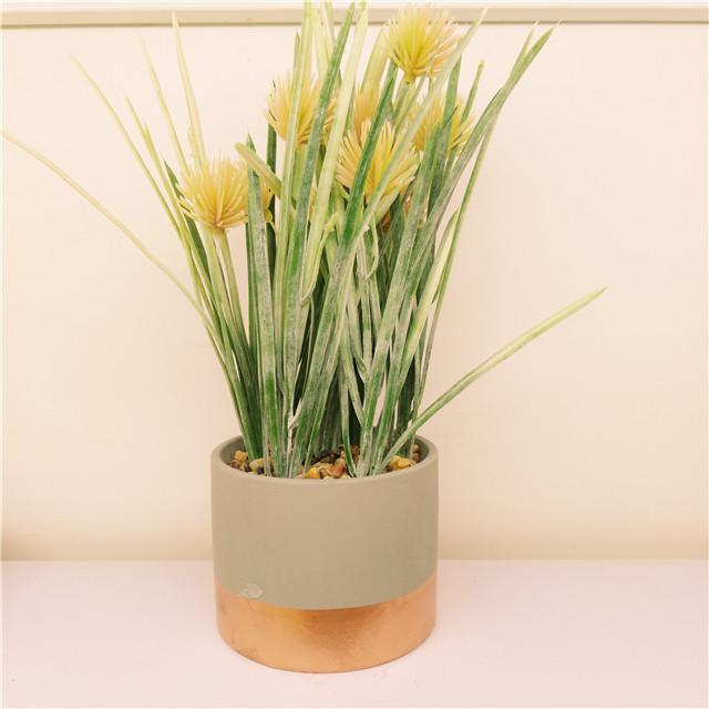 Cement Grey & Gold  Round  Planter pot  , Modern Simple  Garden Bonsai Flower pot