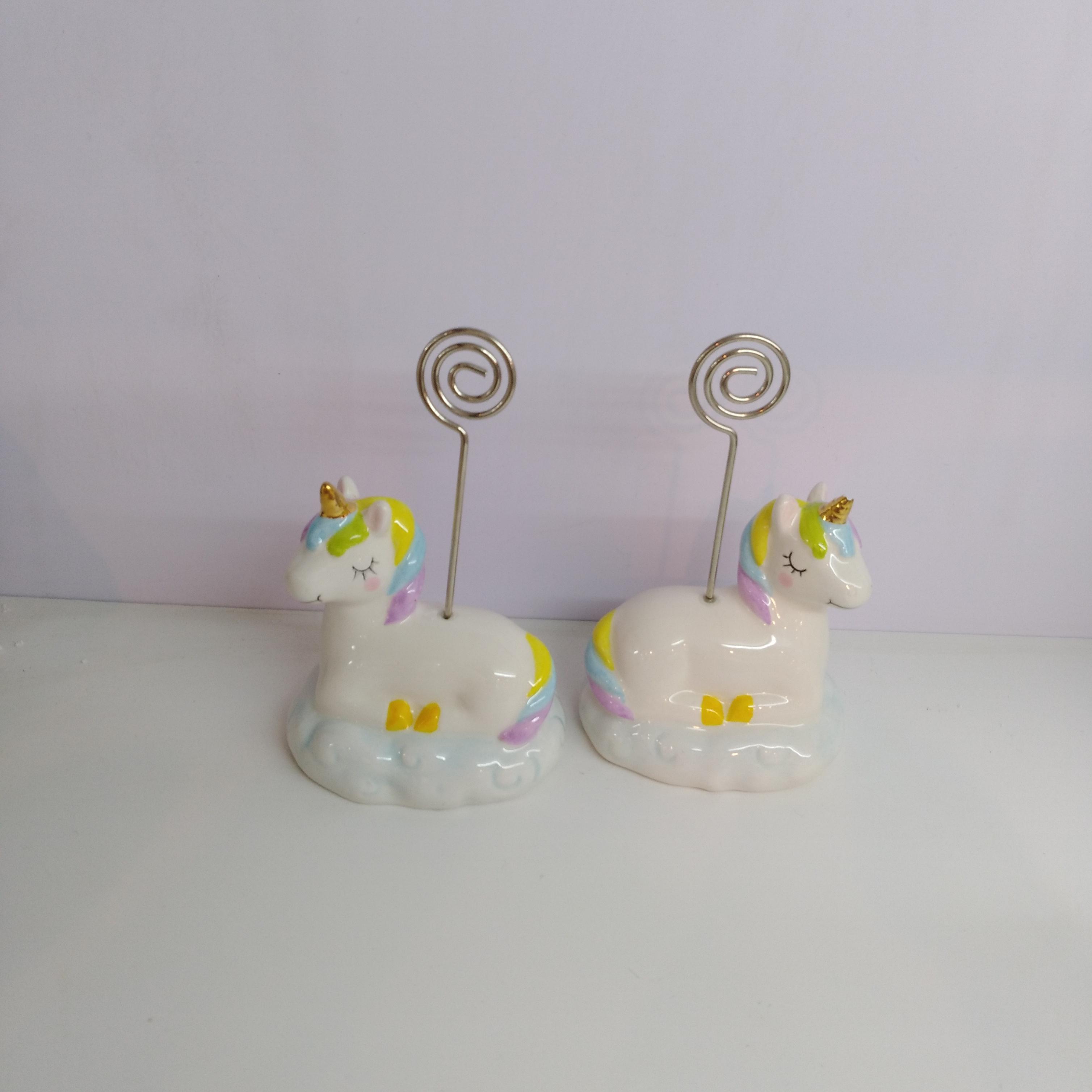 Photo/ Card Holders with Ceramic Unicorn Shaped Base