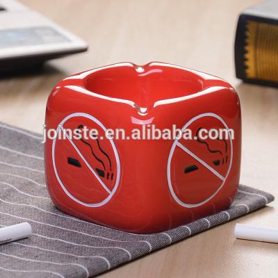 Custom cheapred dice shape ceramic ashtray