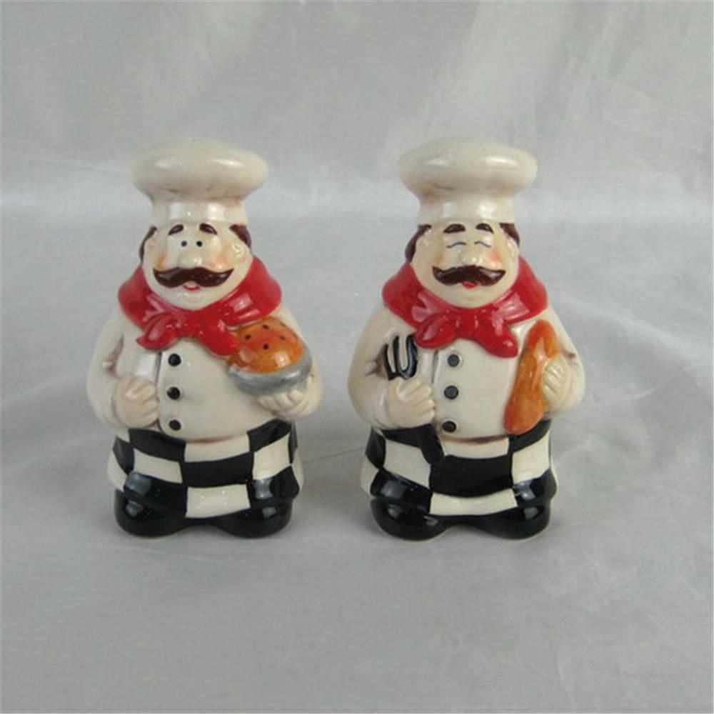 Featured  ceramic  chef shape  salt pepper shakers ceramic salt and pepper pot