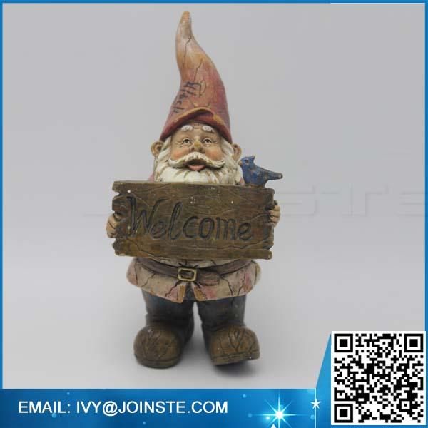 Welcome garden decoration gnome figurines ,small size resin gnome figurine manufacture